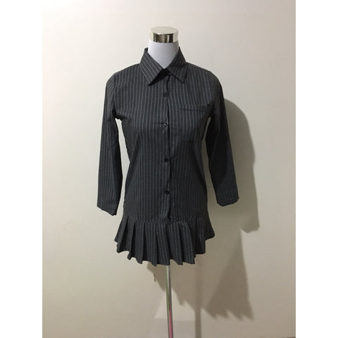 Gray Stripe Long Sleeve Ruffles Mini Dress/Long Shirt