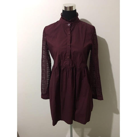 Maroon Vintage Vibe Dress w/ Lace Long Sleeve