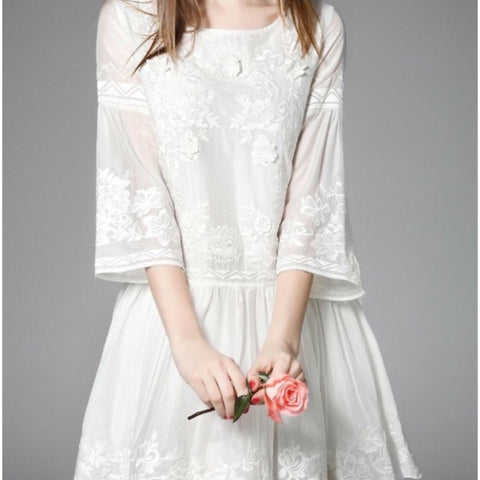 White Embroidered Silk Dress