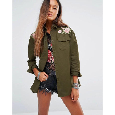 Army Green Flower Embroidery Detail Long Sleeve Shirt