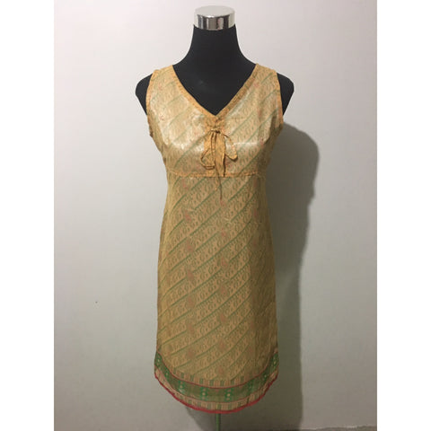 Golden Yellow Oriental Style Sleeveless Dress