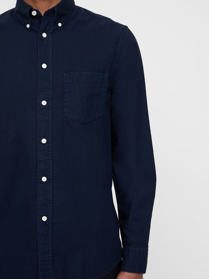 Menswear Cotton Long Sleeve Shirt Navy Blue Color Premium Quality Summer 2019