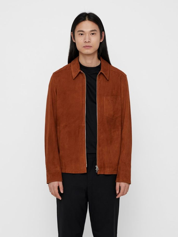 Menswear brown premium quality deer leather jacket summer 2019