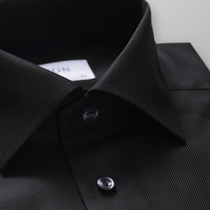 ETON brand premium quality men's shirt black textured twill collar