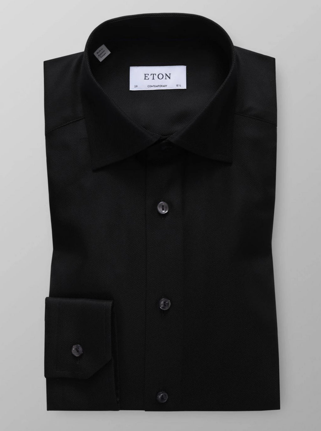 ETON brand premium quality men's shirt black textured twill