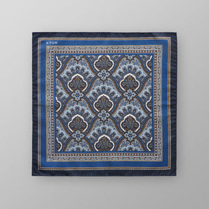 100% silk premium quality men's pocket square in blue