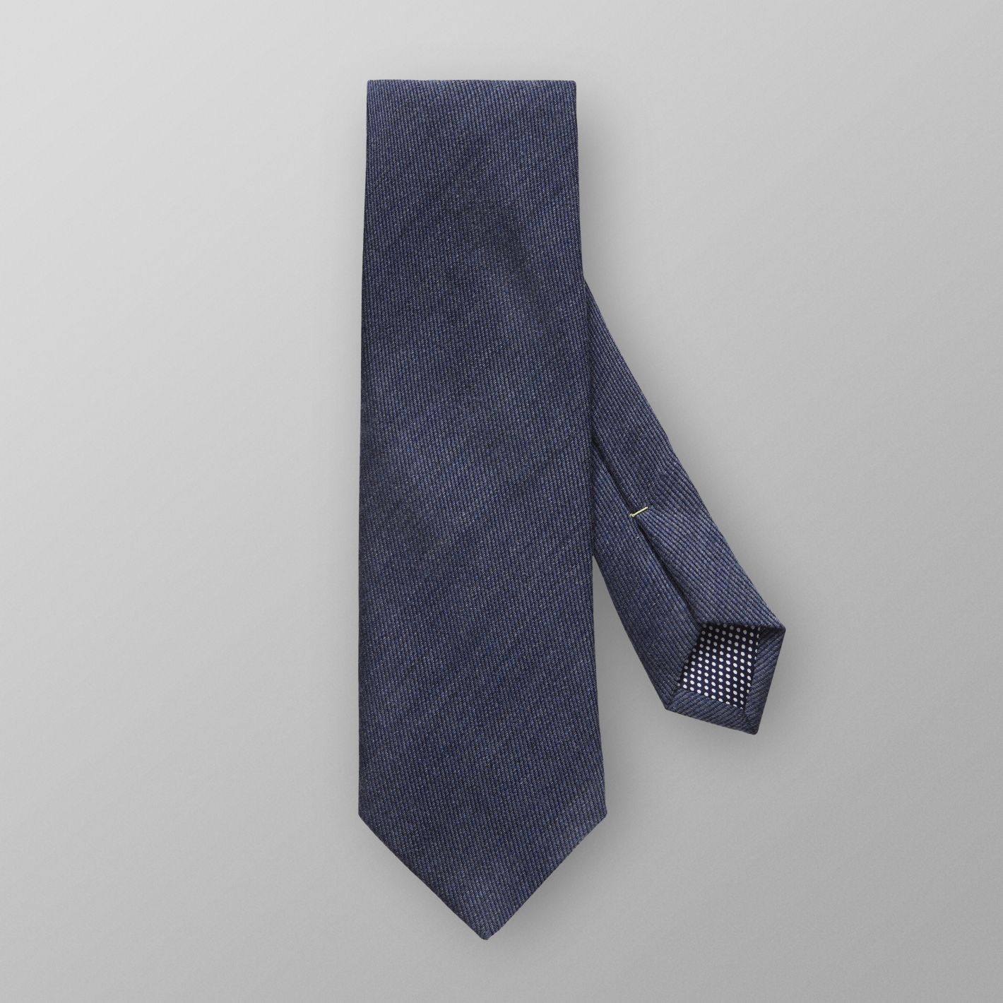 Premium quality made in Italy men's wool tie blue color