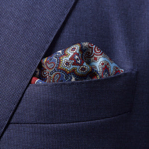 100% silk made in italy premium quality men's pocket square paisley design in red