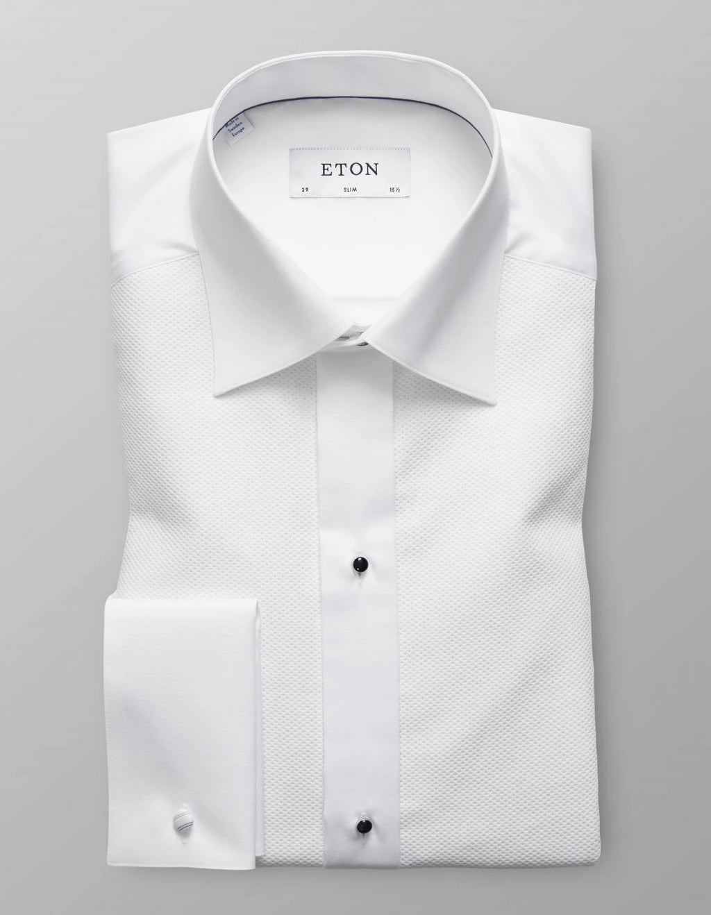 Premium quality men's evening pique shirt in white