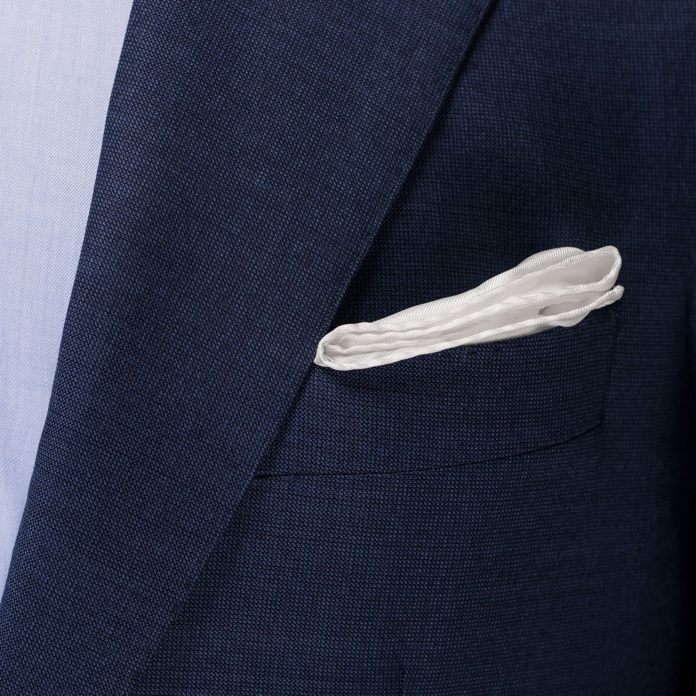 100% silk premium quality made in Italy men's white classic pocket square