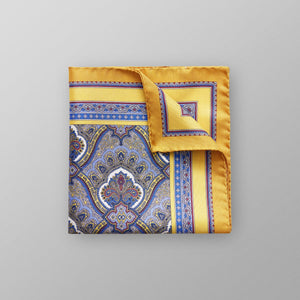 100% silk made in italy premium quality men's pocket square paisley design in yellow color