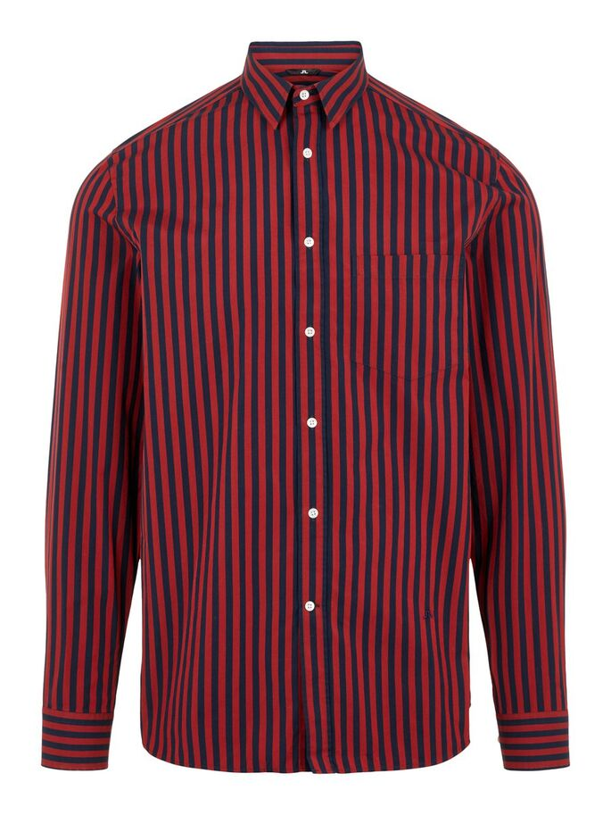 J. Lindeberg Men's striped shirt Daniel red