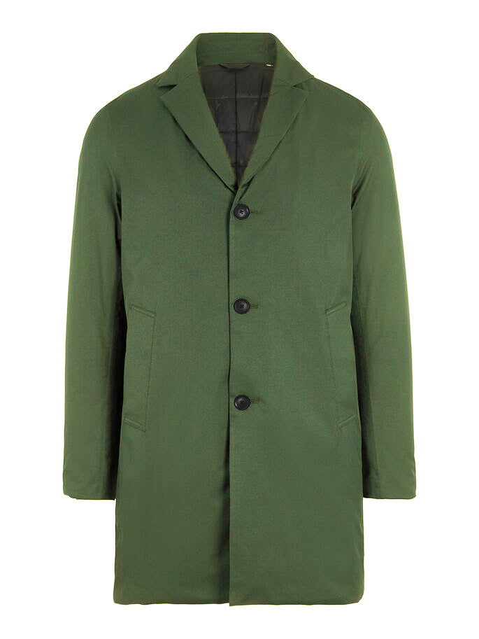 J. Lindeberg Men's Winter Trench Coat in forest green color