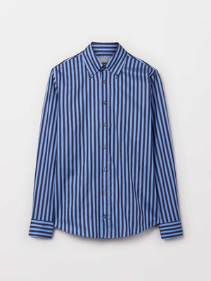 Striped blue shirt for men classic fit sumemr 2019