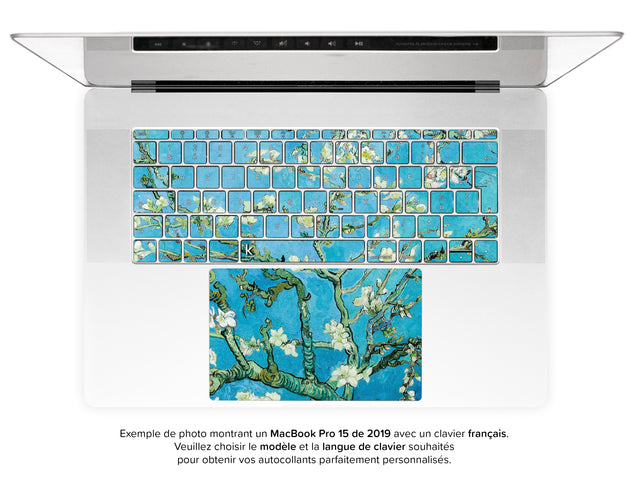 Fleur D'Amande par van Gogh Stickers Autocollants Clavier MacBook