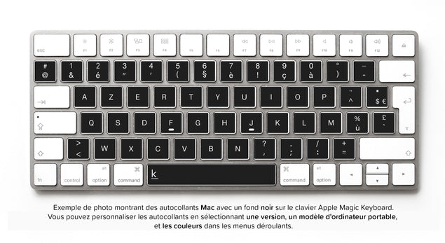 Stickers Autocollants Clavier Français AZERTY pour Mac
