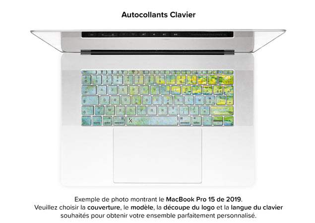 Nénuphars Bleus de Monet Skin Pour MacBook - autocollants clavier