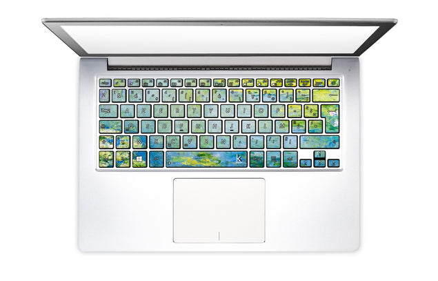 Nénuphars Bleus de Monet Stickers Autocollants Clavier PC