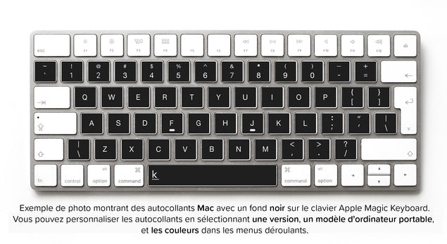Stickers Autocollants Clavier QWERTY (Etats-Unis) pour Mac