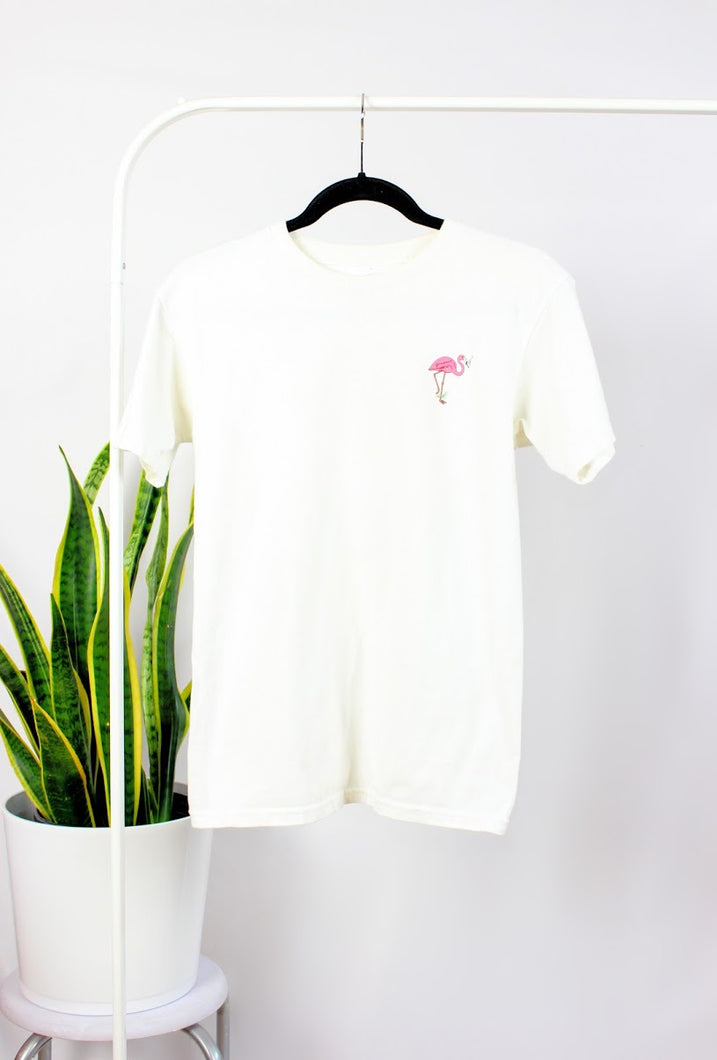 T-shirt blanc « flamant rose »