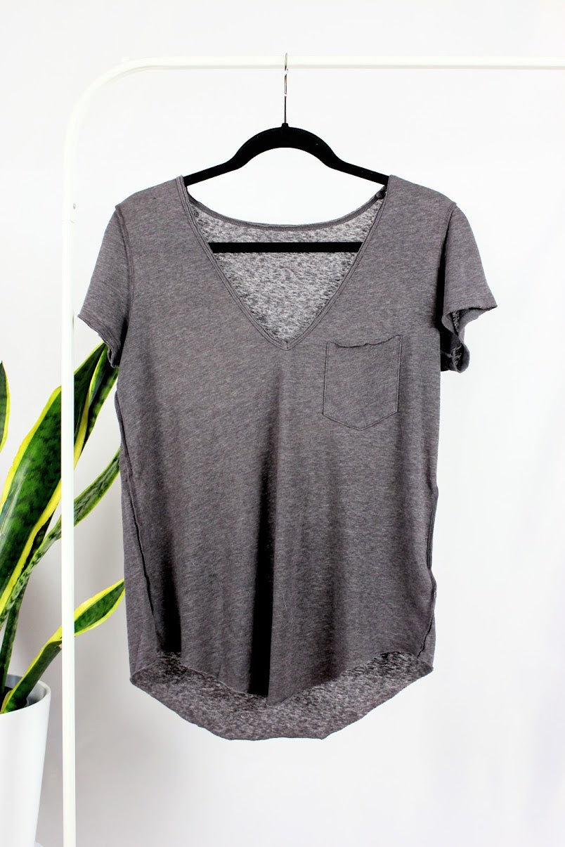 T-shirt si simple gris/mauve