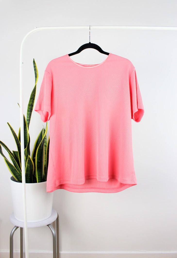 T-shirt texturé rose flash