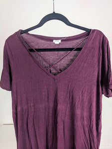 T-shirt mauve vin mi-long