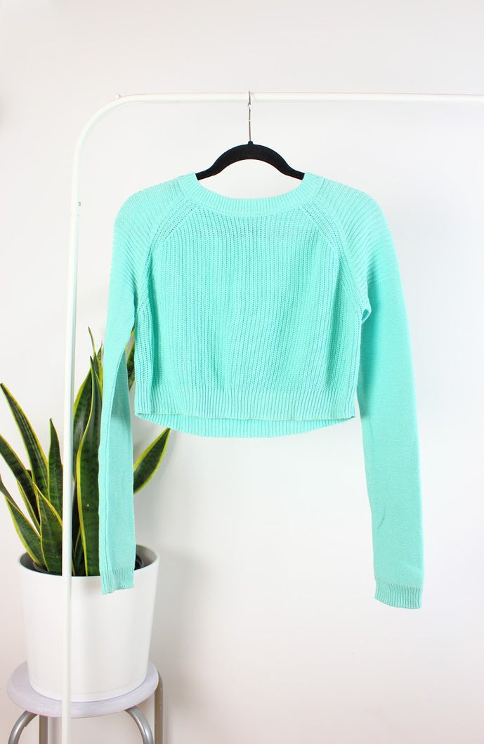 Tricot turquoise style croptop