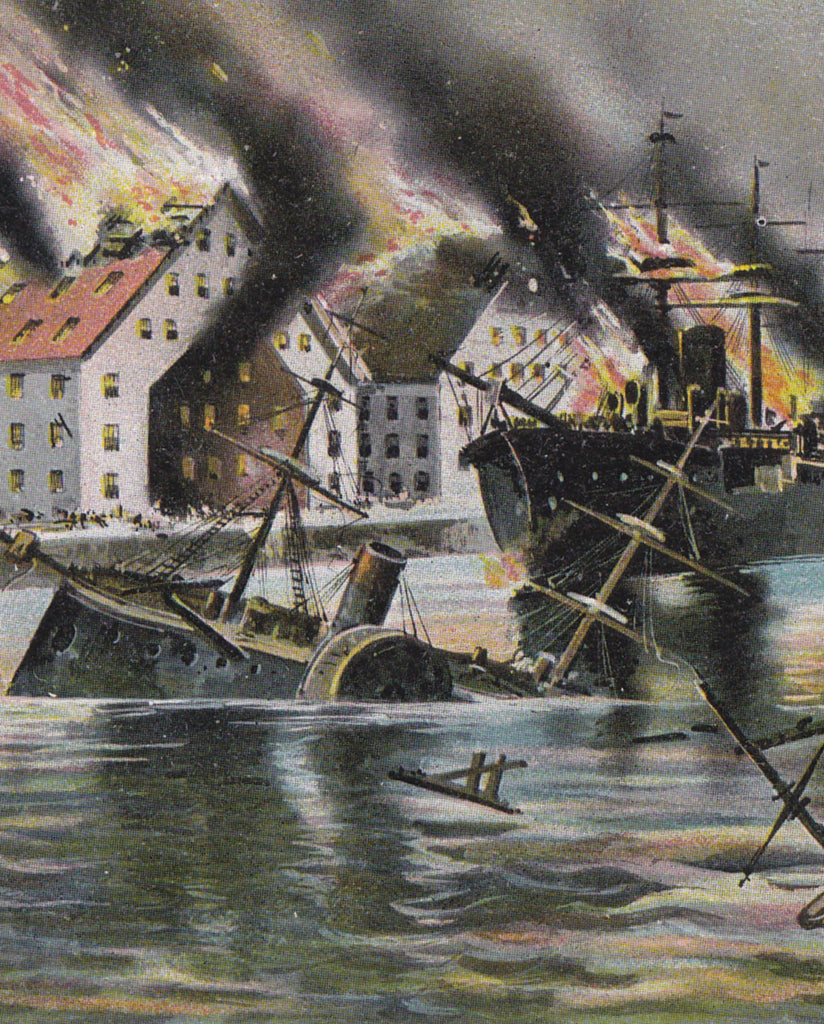 Destruction of the Merrimac- 1900s Antique Postcard- Civil War Navel Battle- Ironclad Warships- Historical- USS Monitor- Hampton Roads, VA- Unused