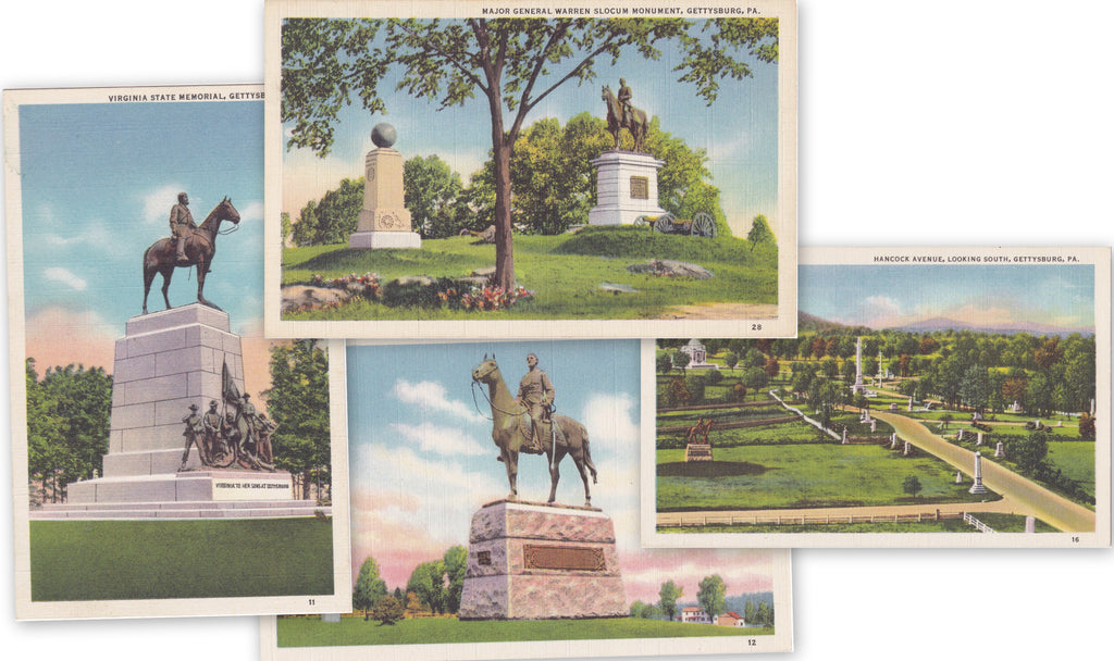 Gettysburg Memorials- 1930s Vintage Postcards- SET of 4- Hancock Ave- General Meade- Virginia State- Major Gen. Warren Slocum- War Monuments- Battlefield Memorials