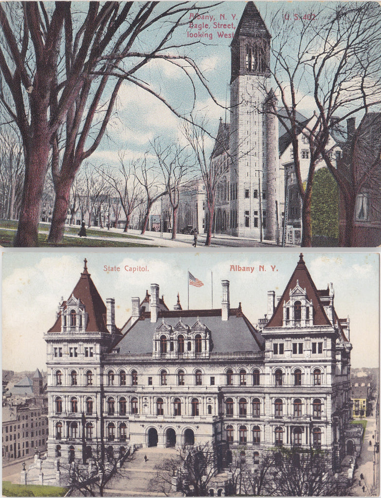 Albany, New York- 1910s Antique Postcards- SET of 2- State Capitol Building- Eagle Street Looking West- Edwardian
