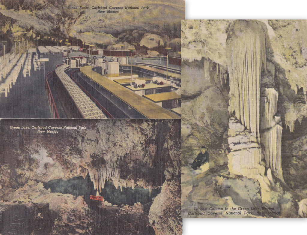 Carlsbad Caverns National Park- 1940s Vintage Postcards- SET of 3- New Mexico- Green Lake- Lunch Room- Herman Hemler