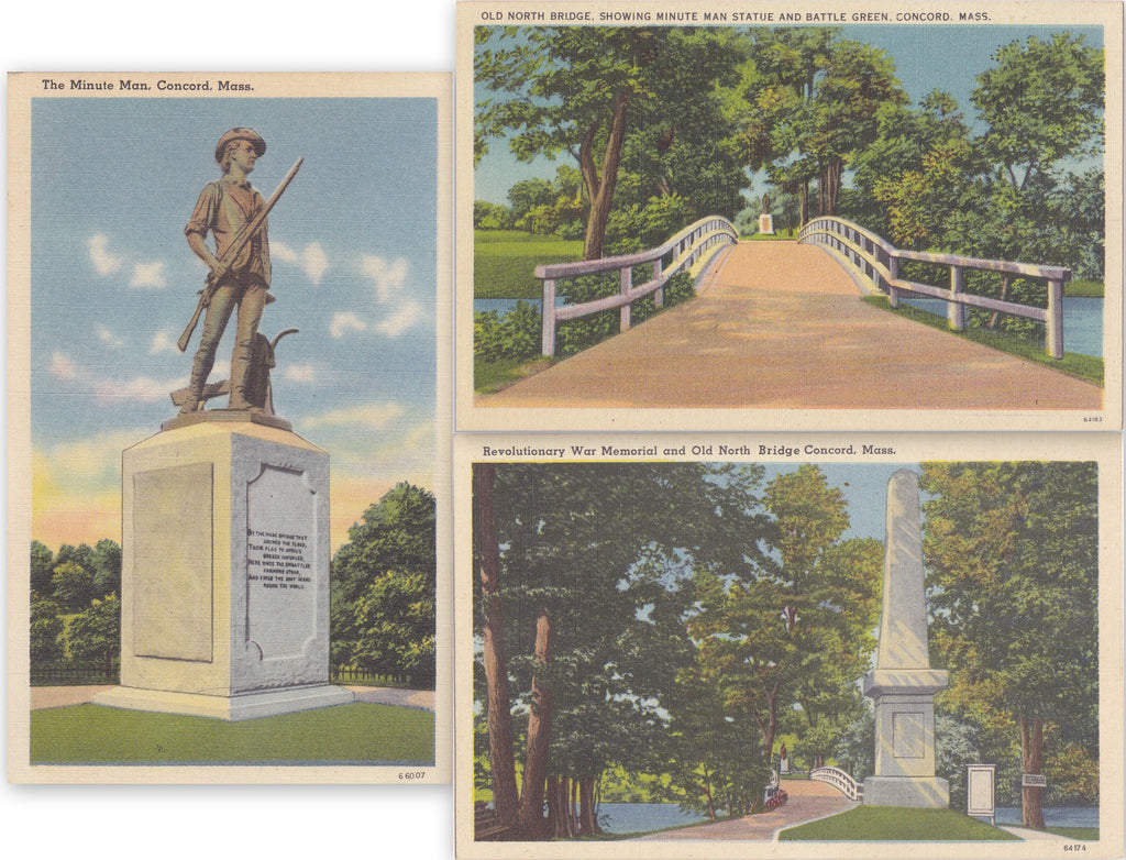 Battle Lawn, Concord, Massachusetts- 1940s Vintage Postcards- SET of 3- Minute Man Statue- Old North Bridge- Revolutionary War Memorial- Daniel Chester French