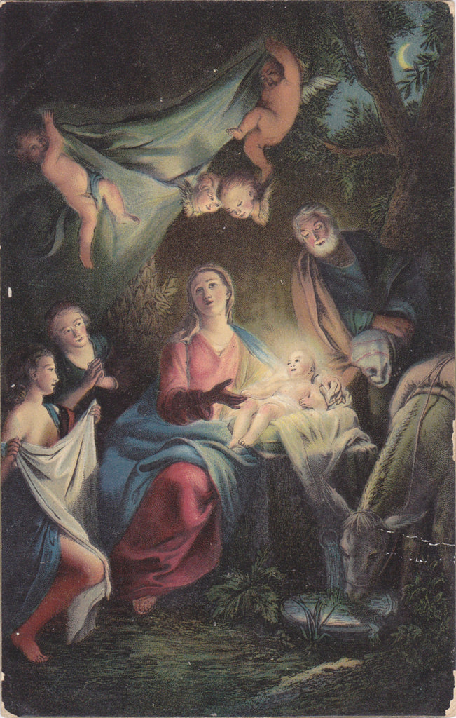 The Nativity- 1900s Antique Postcard- Birth of Jesus- Edwardian Christmas Decor- Religious Painting- Used