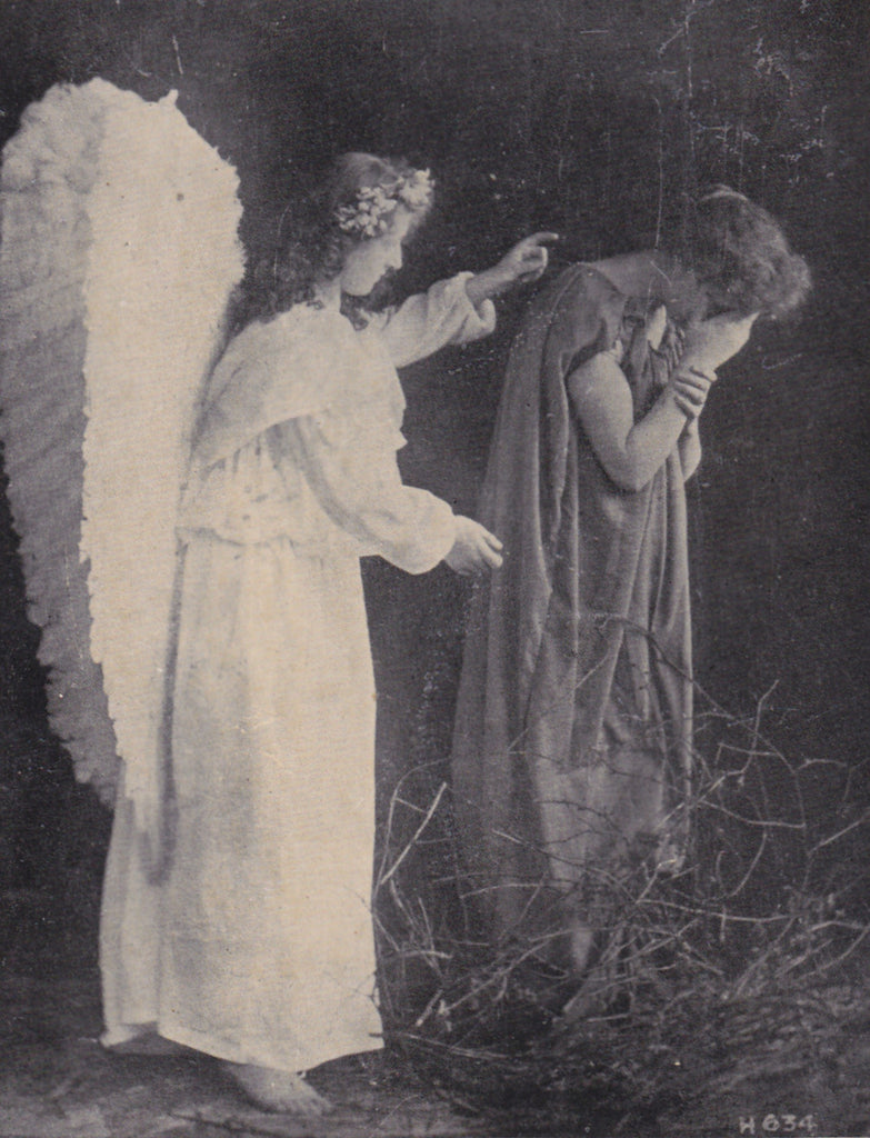 Lead Kindly Light (3)- 1900s Antique Postcard- Guardian Angel- Mourning Poem- Anglo Life Series- Used
