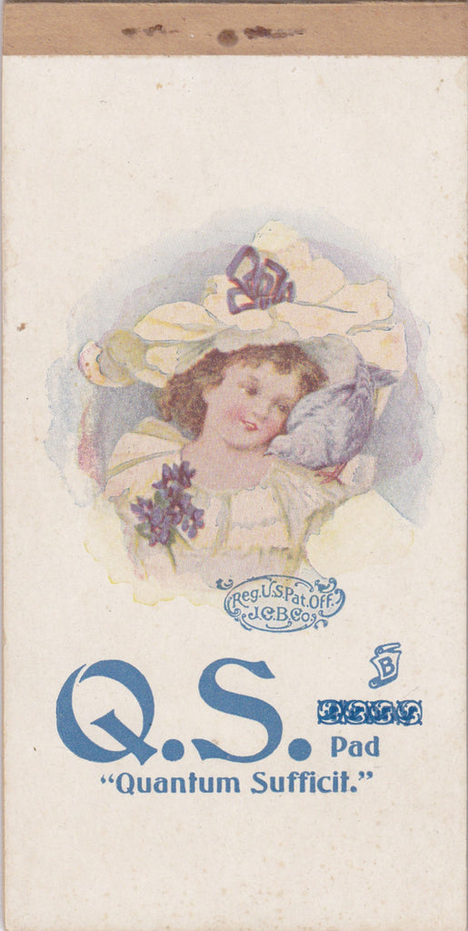 Quantum Sufficit- 1900s Antique Note Paper- Edwardian Notepad- Girl with Dove- J. C. B. Co.- Unused