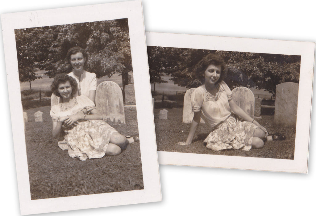 Women Posing in Cemetery