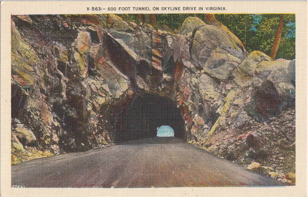 600 Foot Tunnel on Skyline Drive in Virginia - Postcard, c. 1930s