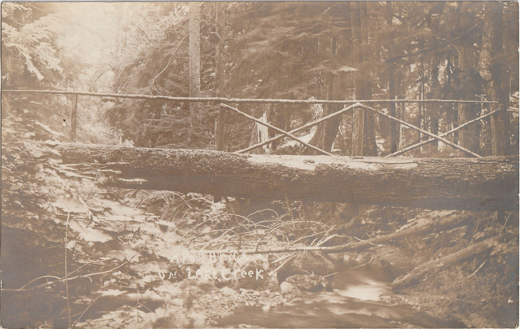 A Foot Bridge on Lake Creek, Oregon - RPPC, c. 1900s