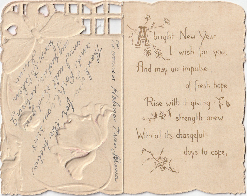 A Bright New Year Wish- Art Nouveau Poppies and Butterfly - Card, c. 1900s