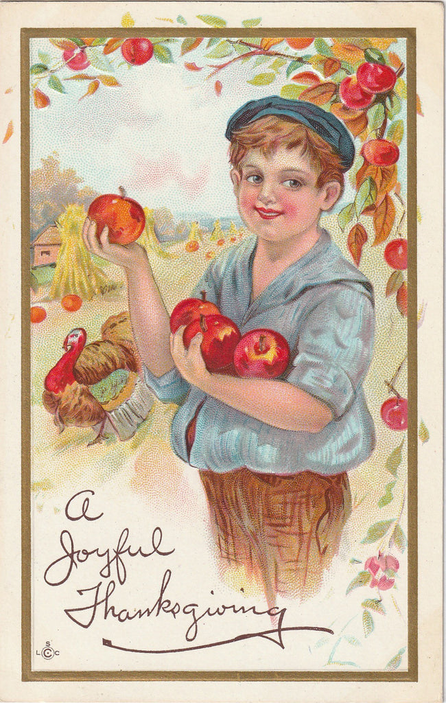 A Joyful Thanksgiving Picking Apples Postcard
