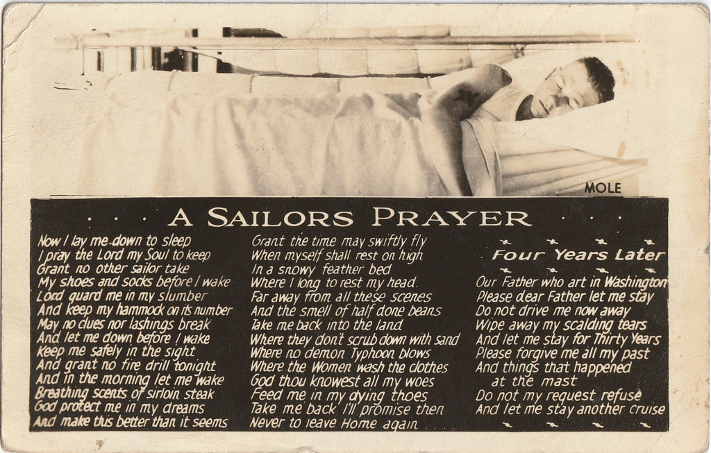 A Sailors Prayer WWII Real Photo Postcard