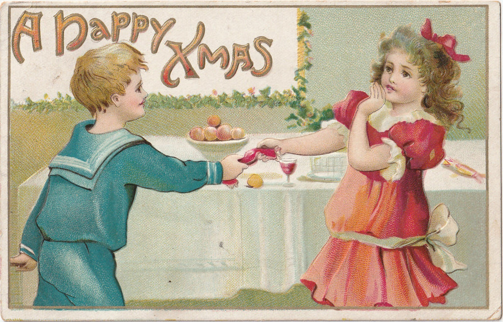 A Happy Xmas Antique Postcard