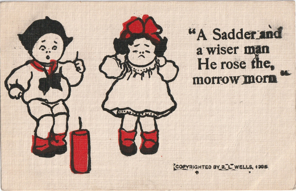 A Sadder and Wiser Man He Rose Postcard