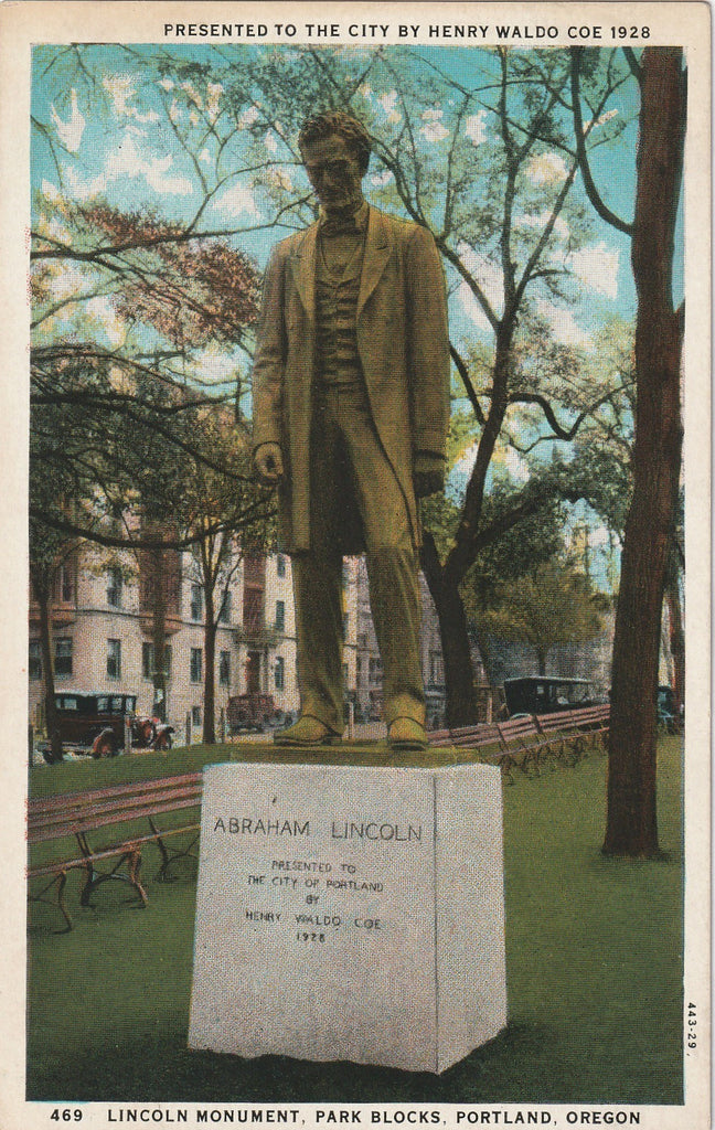 Abraham Lincoln Monument Portland Oregon Postcard