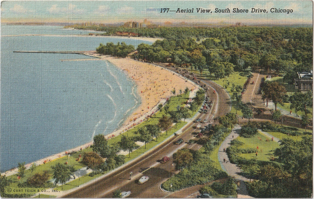 Aerial View South Shore Drive Chicago Postcard