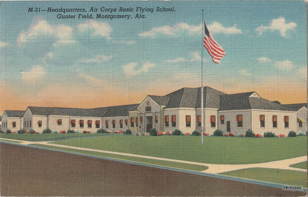 Air Corp Basic Flying School Gunter Field Montgomery Postcard