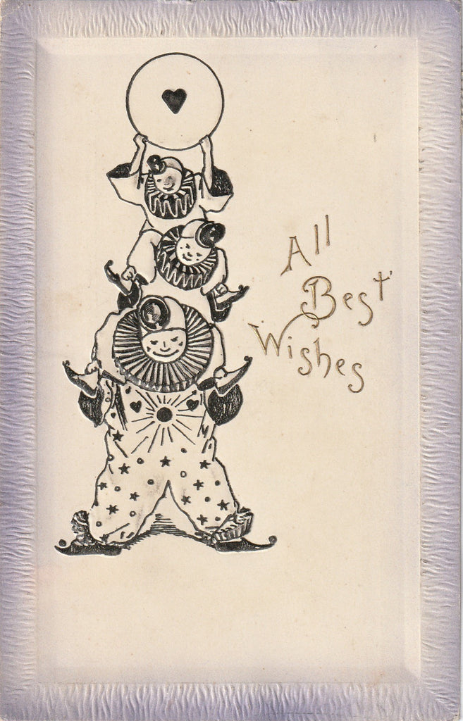 All Best Wishes Pierrot Clowns Postcard