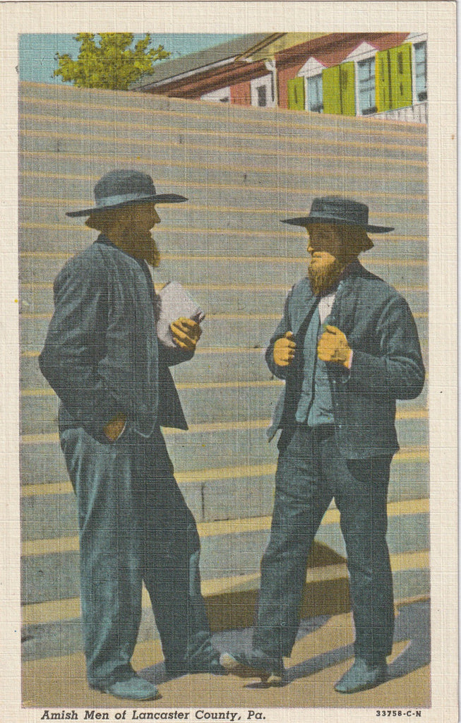 Amish Men of Lancaster County Pennsylvania Postcard