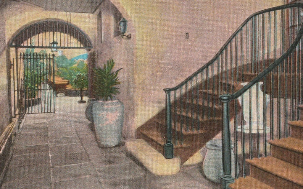 Ancient Stairway Patio Royal New Orleans Vintage Postcard Close Up